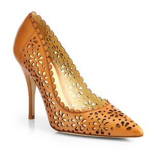 Kate Spade Lana Eyelet Brown Leather Pumps
